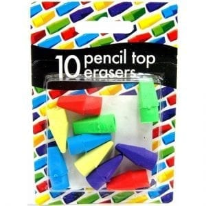 County Pencil Top Erasers Pack of 10