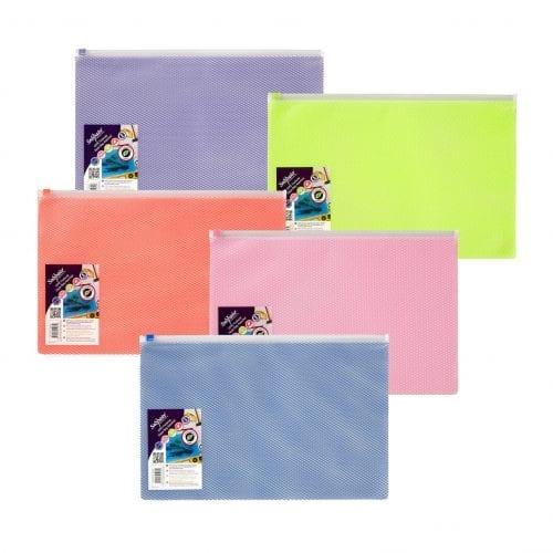 Snopake A4+ Mesh Zip Bag Biodegradable Pastel Colours