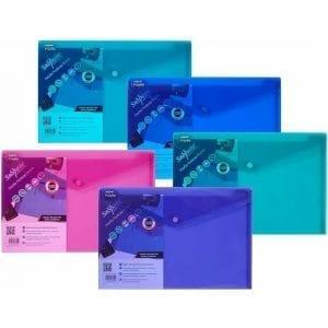 Snopake Polyfile A4+ Foolscap Press Stud Wallets Electra Colours