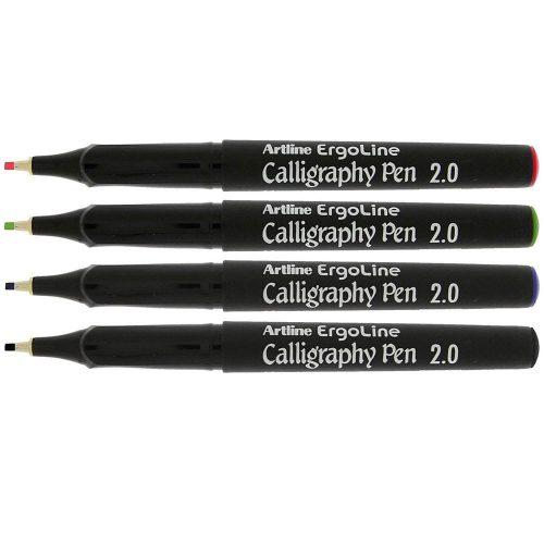 artline-ergoline-calligraphy-assorted-colour-pen-set-2-0mm-nib-multi-image