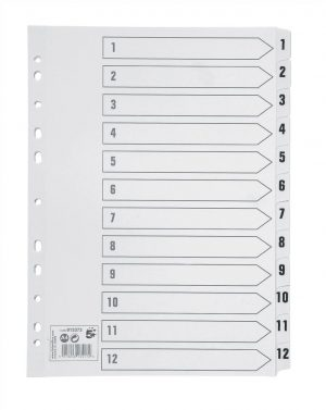 5 Star Office Index Dividers 1-12 Multipunched Tabs