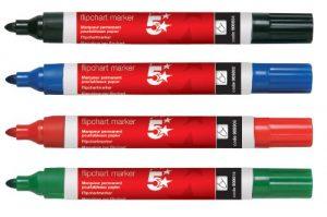 5 Star Flipchart Marker Pens 2mm Bullet Tip Pack of 4