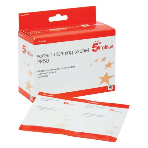 5 Star Office Screen Cleaning Sachets Anti-static Pack of 50