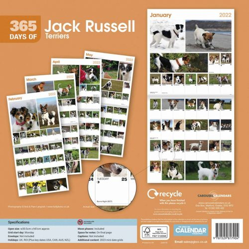 365 Days Of Jack Russell Terriers Calendar 2022-back