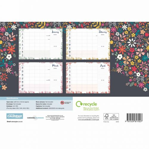 Bohemia A4 Family Planner 2022-back