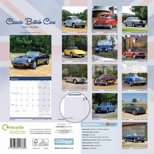 Classic British Cars Calendar 2022-back