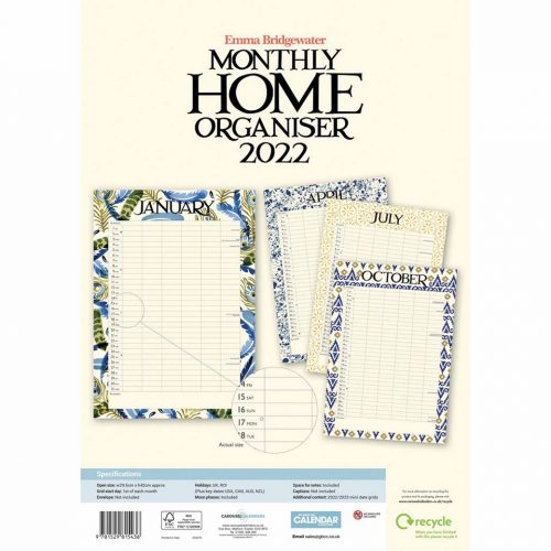 Emma Bridgewater, Blue Feather A3 Family Planner 2022-back