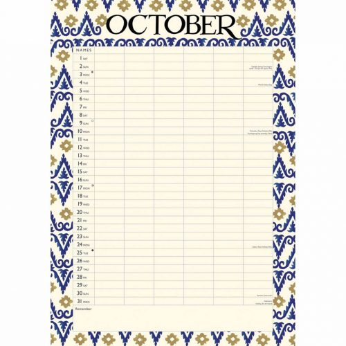 Emma Bridgewater, Blue Feather A3 Family Planner 2022-inside