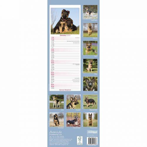 German Shepherd Slim Calendar 2022-back