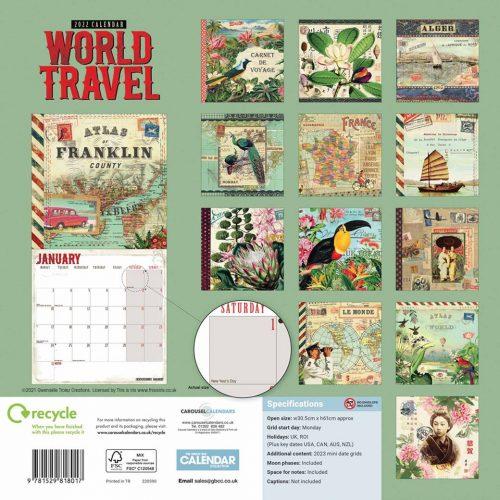 Gwen Trolez Vintage World Travel Calendar 2022-back