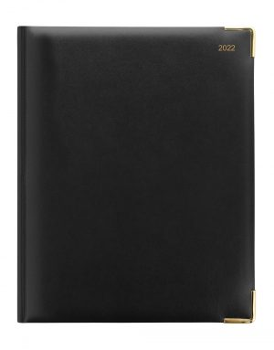 Letts Classic Quarto Vertical Week to View Diary 2022 with Appointments Black-front