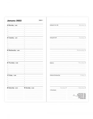 Letts Classic Slim Week to View Diary 2022 with Appointments, Notes and Planners Black-inside
