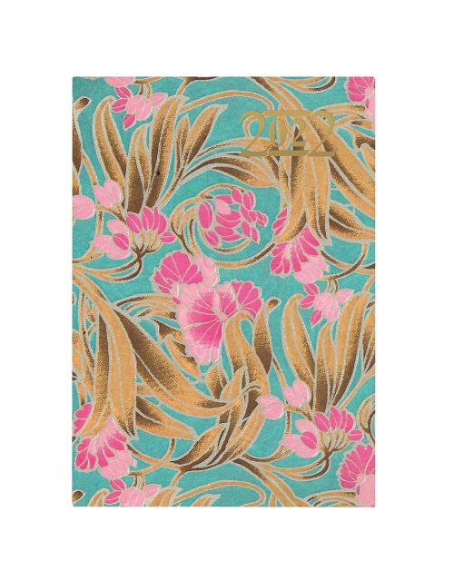 Letts Japanese Paper A5 Week to View Diary 2022 Turquoise-front
