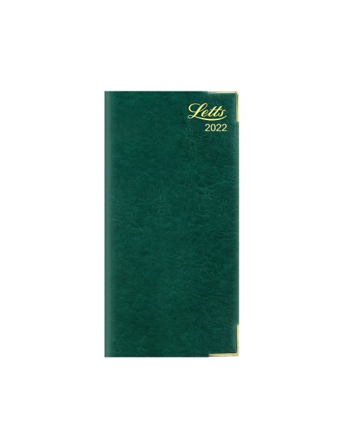 Letts Lexicon Slim Vertical Week to View (Landscape) Diary 2022 with Appointments Green-front