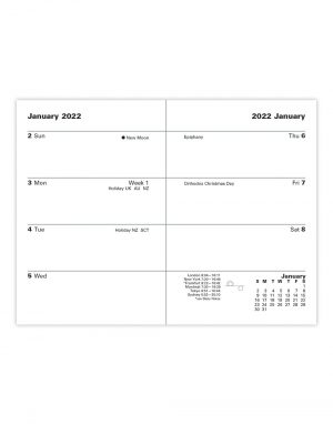 Letts Principal Mini Pocket Week to View Diary 2022 Blue-inside