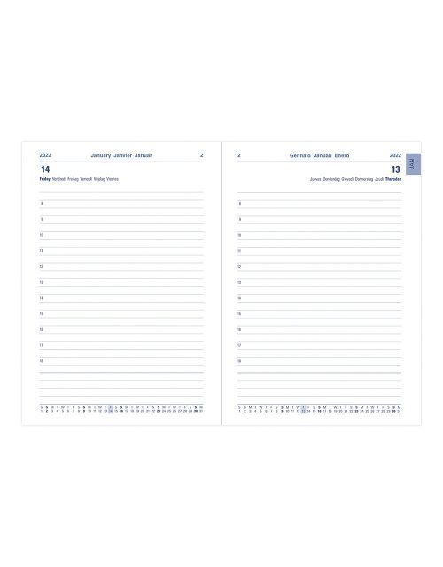 Letts Verona A5 Day to Page Diary 2022 with Appointments and Planners Black-inside