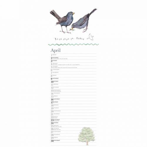 Madeleine Floyd, Dawn Chorus Slim Calendar 2022-inside