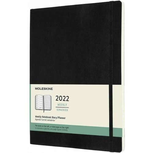 Moleskine 2022 Extra Large Weekly Notebook Diary Soft Cover Black-front