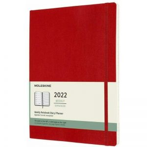 Moleskine 2022 Extra Large Weekly Notebook Diary Soft Cover Scarlet Red-front