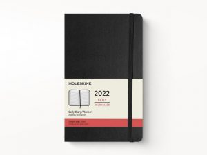 Moleskine 2022 Large Daily Diary Planner Hard Cover Black-front