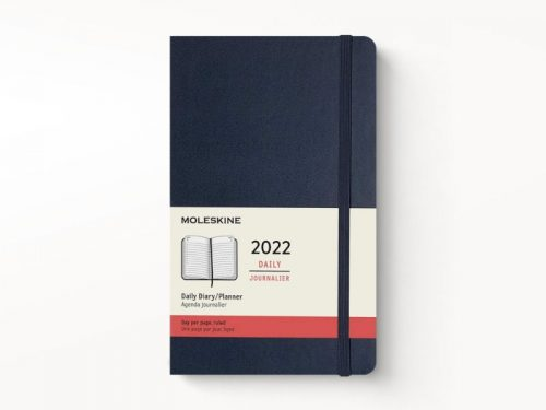Moleskine 2022 Large Daily Diary Planner Hard Cover Sapphire Blue-front