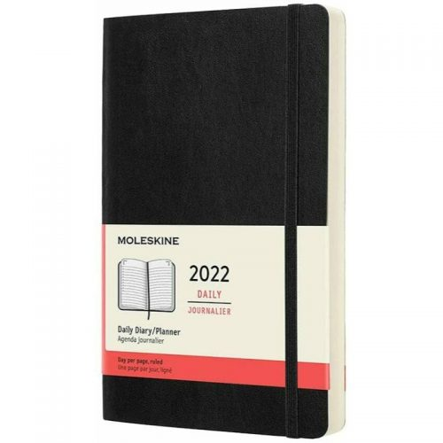 Moleskine 2022 Large Daily Diary Planner Soft Cover Black-front