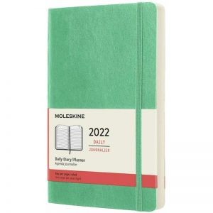 Moleskine 2022 Large Daily Diary Planner Soft Cover Ice Green-front