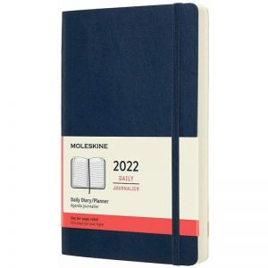 Moleskine 2022 Large Daily Diary Planner Soft Cover Sapphire Blue-front
