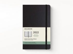 Moleskine 2022 Large Vertical Weekly Diary Planner Hard Cover Black-front