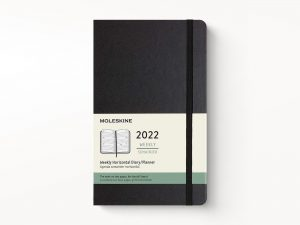 Moleskine 2022 Large Weekly Diary Planner Hard Cover Black-front
