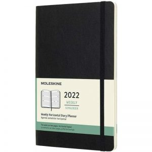 Moleskine 2022 Large Weekly Diary Planner Soft Cover Black-front
