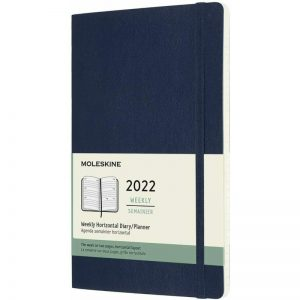 Moleskine 2022 Large Weekly Diary Planner Soft Cover Sapphire Blue-front