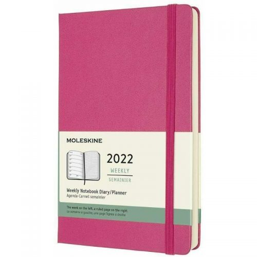 Moleskine 2022 Large Weekly Notebook Diary Hard Cover Bouganvilla Pink-front
