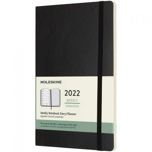 Moleskine 2022 Large Weekly Notebook Diary Soft Cover Black-front