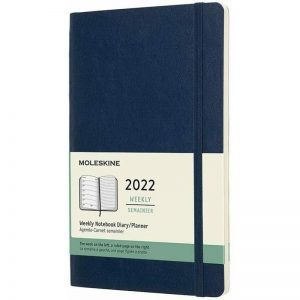 Moleskine 2022 Large Weekly Notebook Diary Soft Cover Sapphire Blue-front