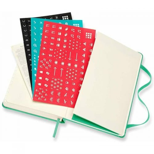 Moleskine 2022 Pocket Daily Diary Planner Hard Cover Ice Green-stickers