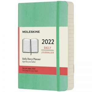 Moleskine 2022 Pocket Daily Diary Planner Soft Cover Ice Green-front