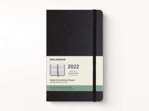 Moleskine 2022 Pocket Vertical Weekly Diary Planner Hard Cover Black-front