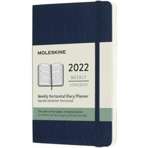Moleskine 2022 Pocket Weekly Diary Planner Soft Cover Sapphire Blue-front