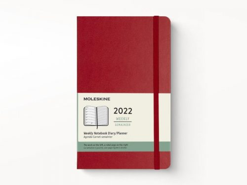 Moleskine 2022 Pocket Weekly Notebook Diary Hard Cover Scarlet Red-front
