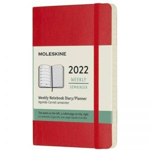 Moleskine 2022 Pocket Weekly Notebook Diary Soft Cover Scarlet Red-front