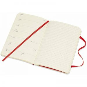 Moleskine 2022 Pocket Weekly Notebook Diary Soft Cover Scarlet Red-inside