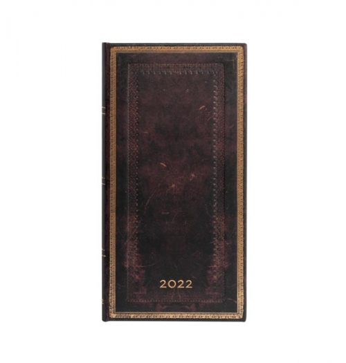 Paperblanks 2022 Diary Black Moroccan Slim Week to View Hard Cover-front