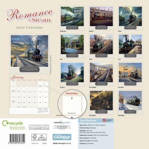 Romance of Steam Calendar 2022-back