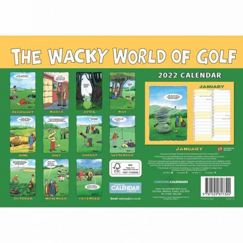 Wacky World of Golf A4 Calendar 2022-back