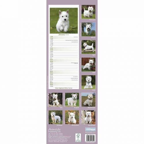 West Highland White Terrier Slim Calendar 2022-back
