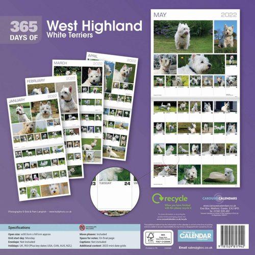 West Highland White Terriers 365 Days Calendar 2022-back